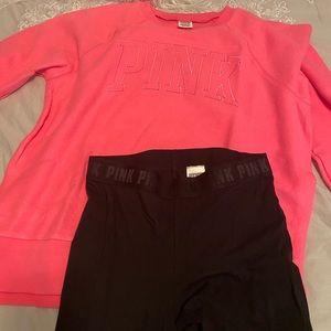 Pink Victoria's Secret sweatshirt and leggings